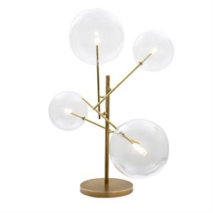 4 Light Portable Lamp in Antique Brass Finish