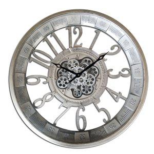 Pewter Round Gear Clock